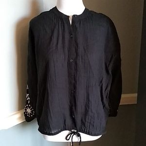 Aerie Black Embroidered Boho Top sz S